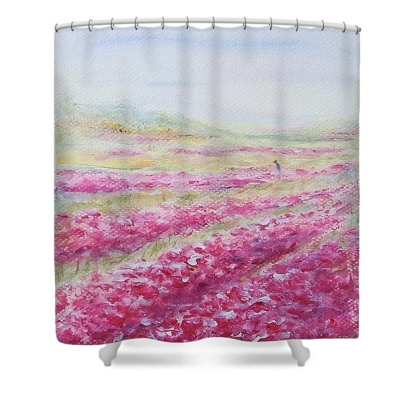 Landscape Shower Curtain featuring the painting Solitude by Jane See