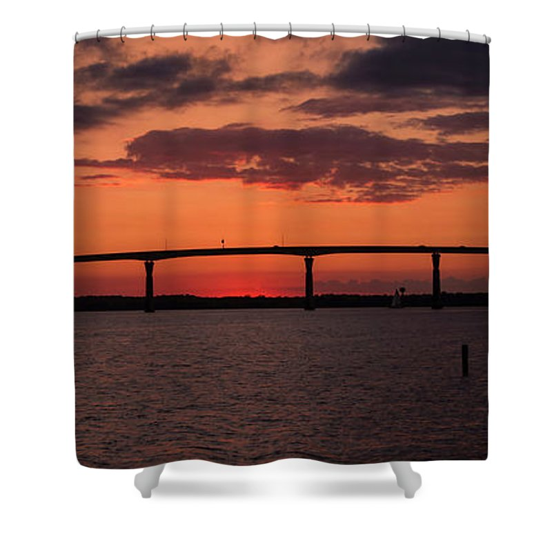 Solomon's Island Bridge Shower Curtain featuring the photograph Solomon Bridge by Sharon Horn