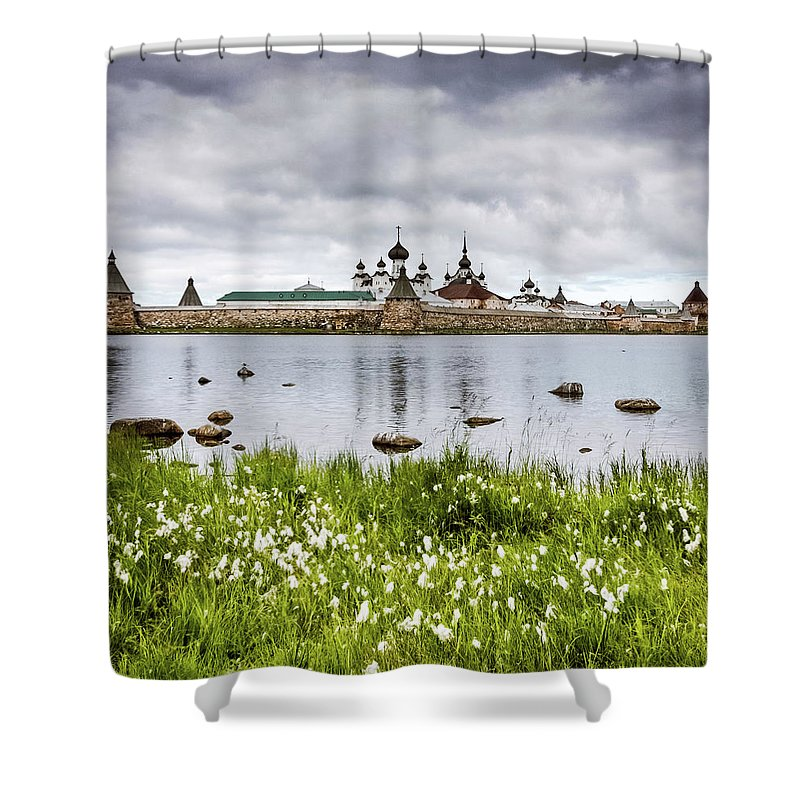 Grass Shower Curtain featuring the photograph Solovetsky Monastery At Holy Lake by Mordolff