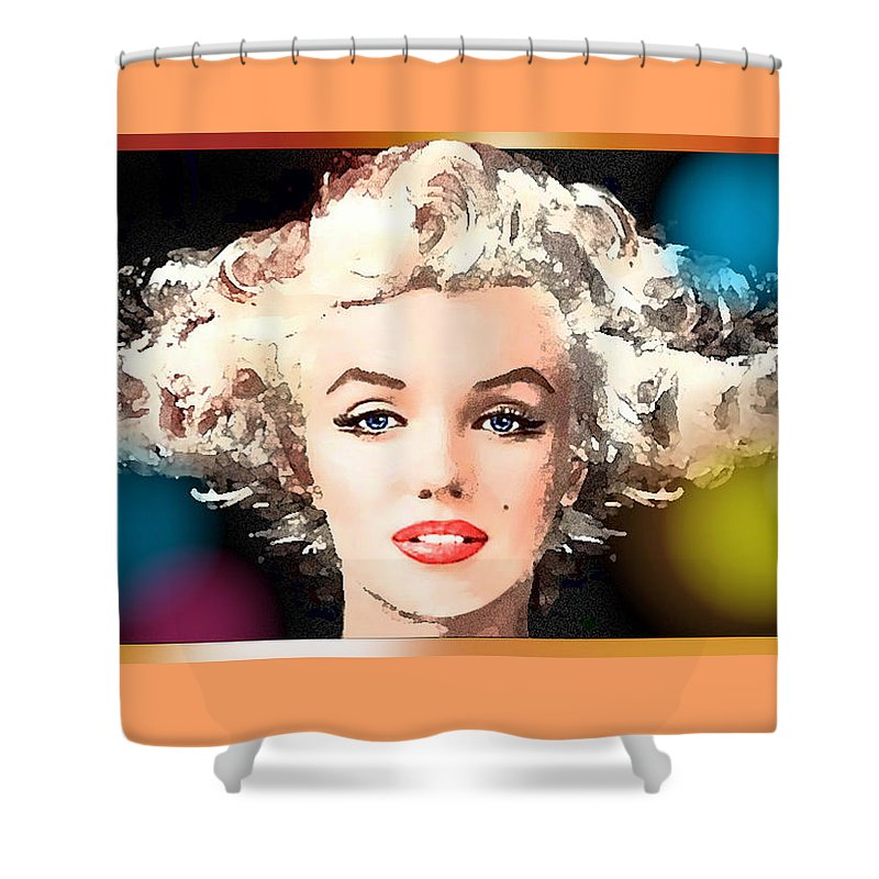 Marilyn Shower Curtain featuring the painting Marilyn - Some Like It Hot by Hartmut Jager