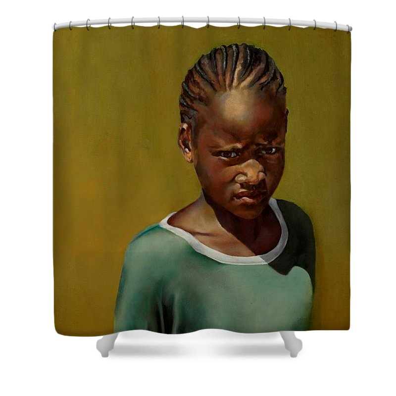 African Girl Shower Curtain featuring the painting Somebody's Sister by Jolante Hesse