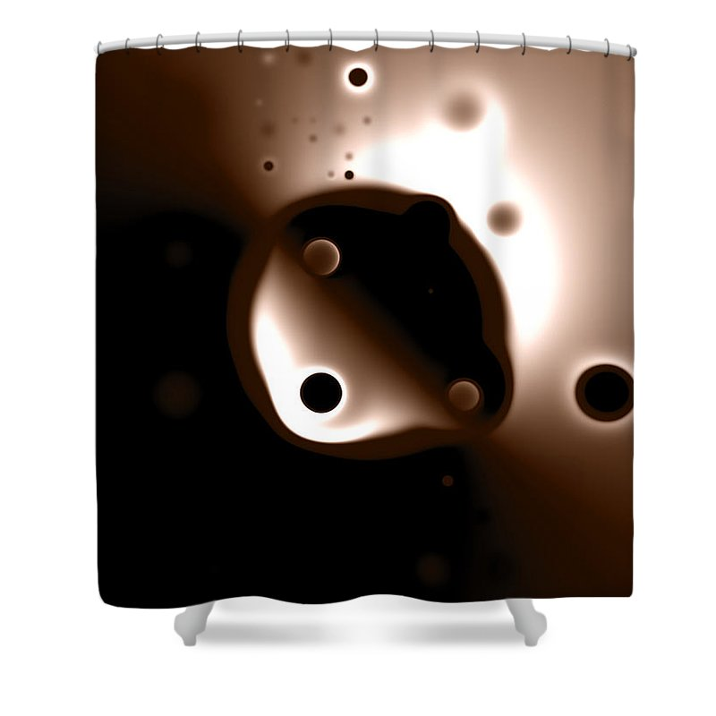 Something Shower Curtain featuring the digital art Something Strange In Orbit by Brian Kenney
