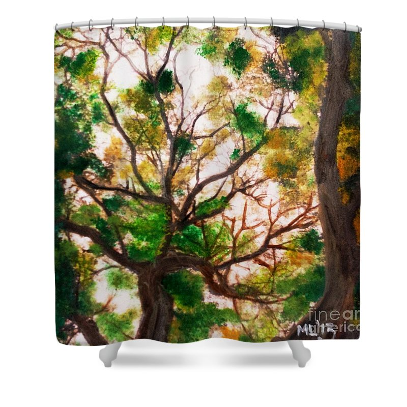Plein Air Shower Curtain featuring the mixed media Somewhere In Bolingbrook Illinois by Maria Leah Comillas