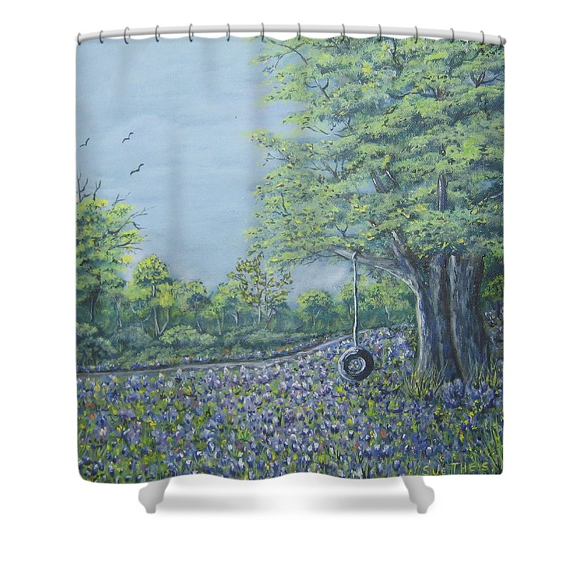 Texas Art Shower Curtain featuring the painting Somewhere In Texas by Suzanne Theis