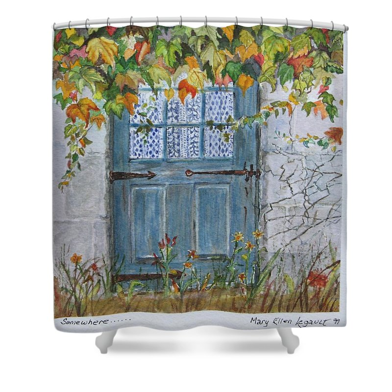 Autumn Leaves Shower Curtain featuring the painting Somewhere by Mary Ellen Mueller Legault