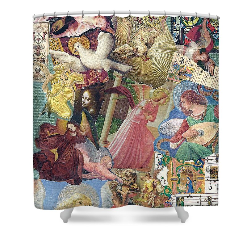 Mixed Media Shower Curtain featuring the mixed media Song Of Angels by Paula Emery