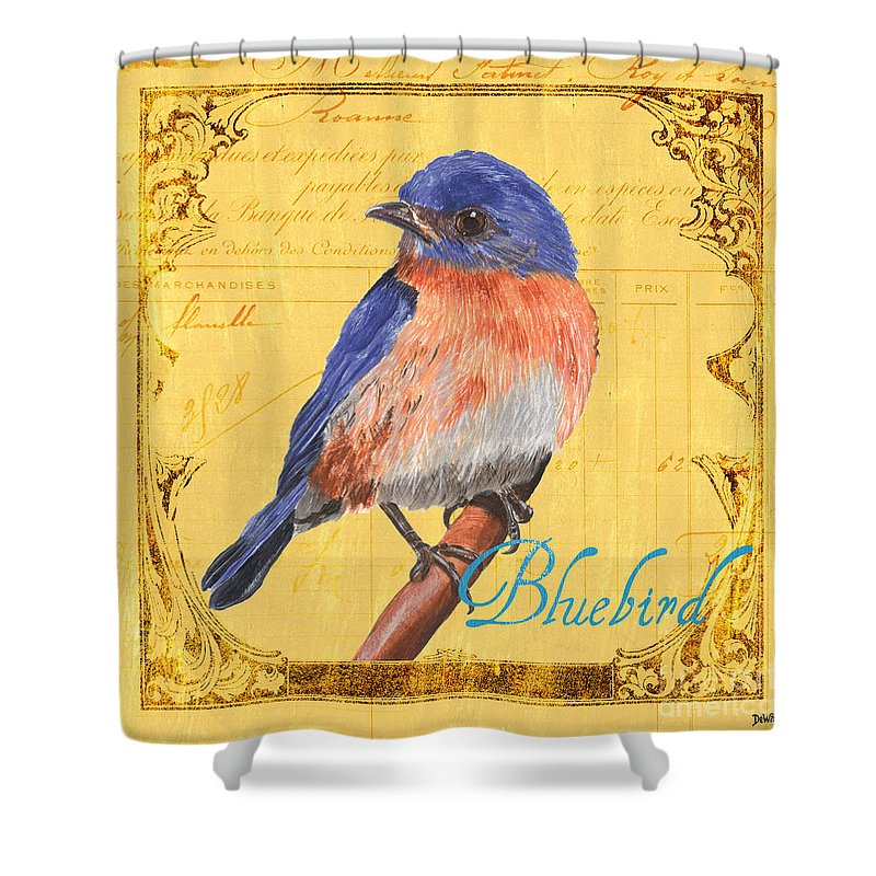 Bird Shower Curtain featuring the painting Colorful Songbirds 1 by Debbie DeWitt