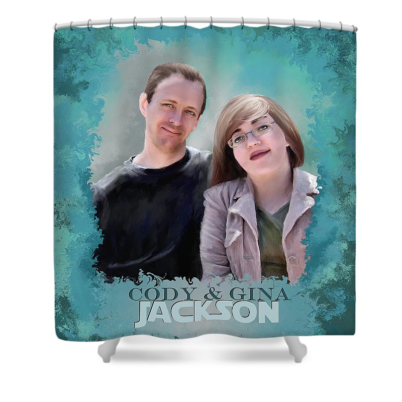 Portrait Shower Curtain featuring the painting Soon To Be Mr And Mrs Jackson by Susan Kinney