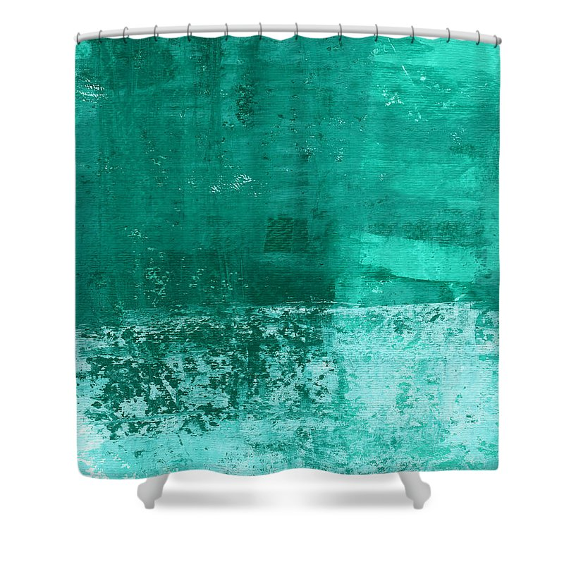 Abstract Art Shower Curtain featuring the painting Soothing Sea - Abstract painting by Linda Woods