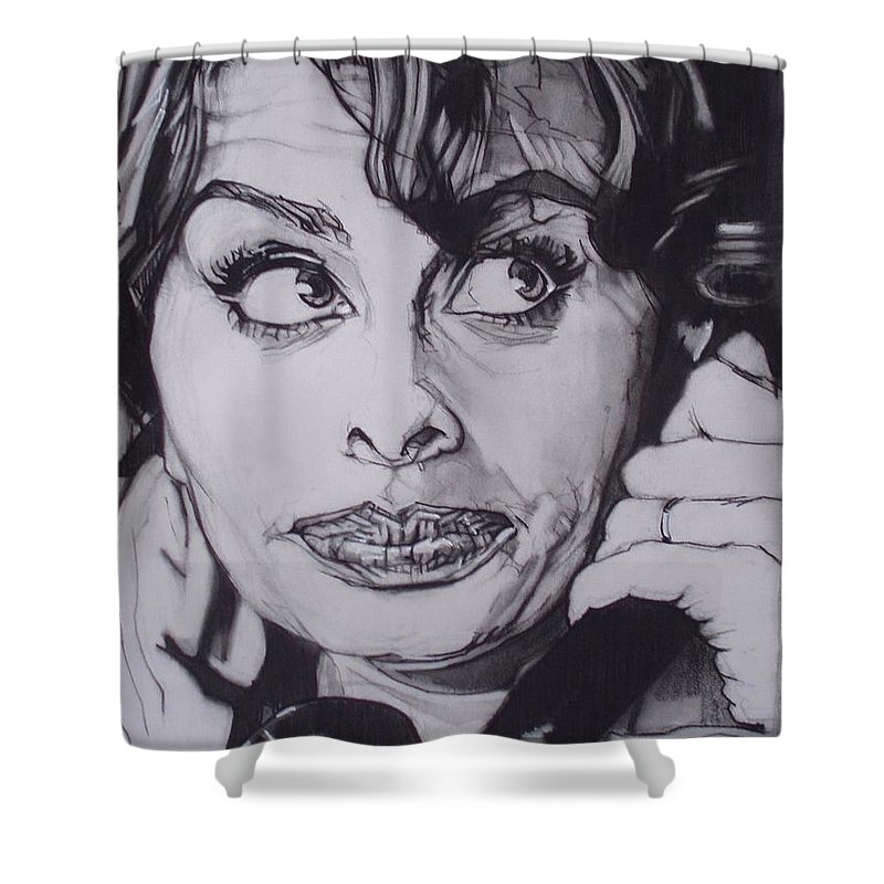 Charcoal;icon;actress;diva;italian;cat Eyes;beautiful;cute;adorable Shower Curtain featuring the drawing Sophia Loren Telephones by Sean Connolly