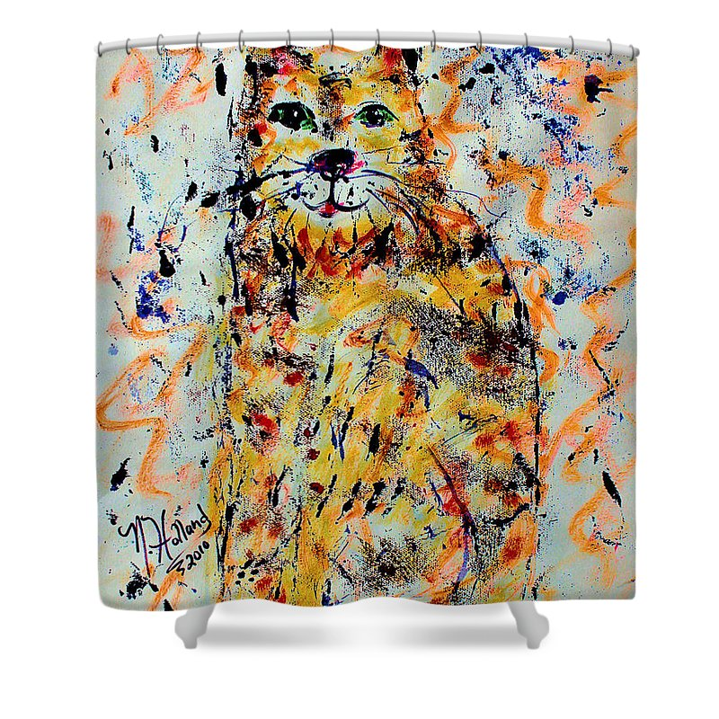 Expressionism Shower Curtain featuring the painting Sophisticated Cat 3 by Natalie Holland