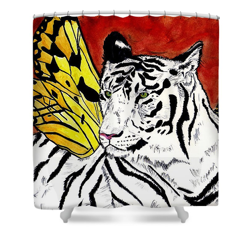 Tiger Shower Curtain featuring the painting Soul Rhapsody by Crystal Hubbard