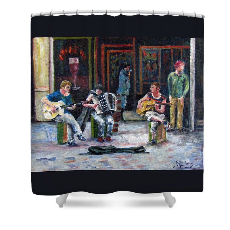 Musicians Shower Curtain featuring the painting Sounds Of Paris by Sandra Reeves