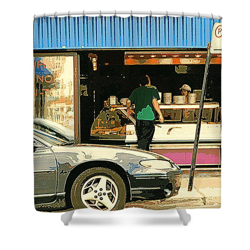 Shower Curtain featuring the painting Soups's On Montreal's Favorite Fast Food Road Side Attractions Rue St. Denis Resto Urban City Scene by Carole Spandau