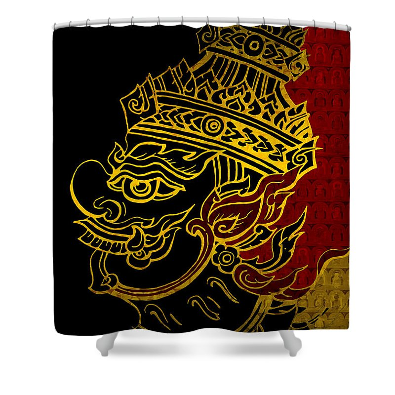 Corporate Art Task Force Framed Prints Framed Prints Shower Curtain featuring the painting South Asian Art Motives by Corporate Art Task Force