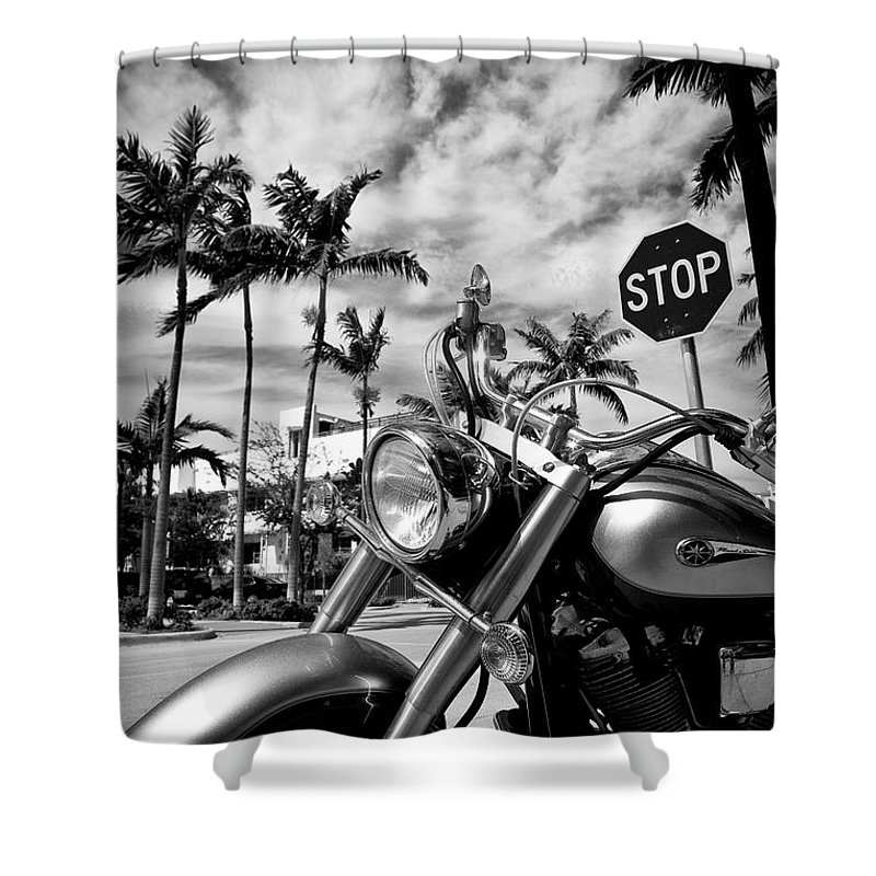 Bike Shower Curtain featuring the photograph South Beach Cruiser by Dave Bowman