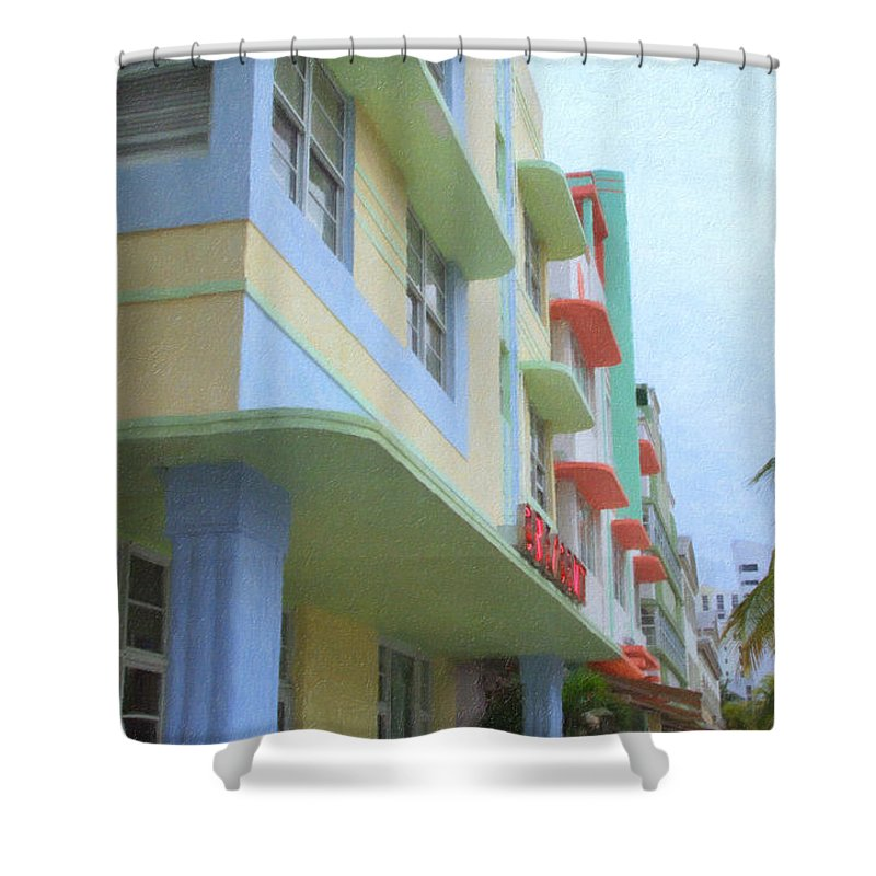 Art Deco Shower Curtain featuring the photograph South Beach Facades by Tom Reynen
