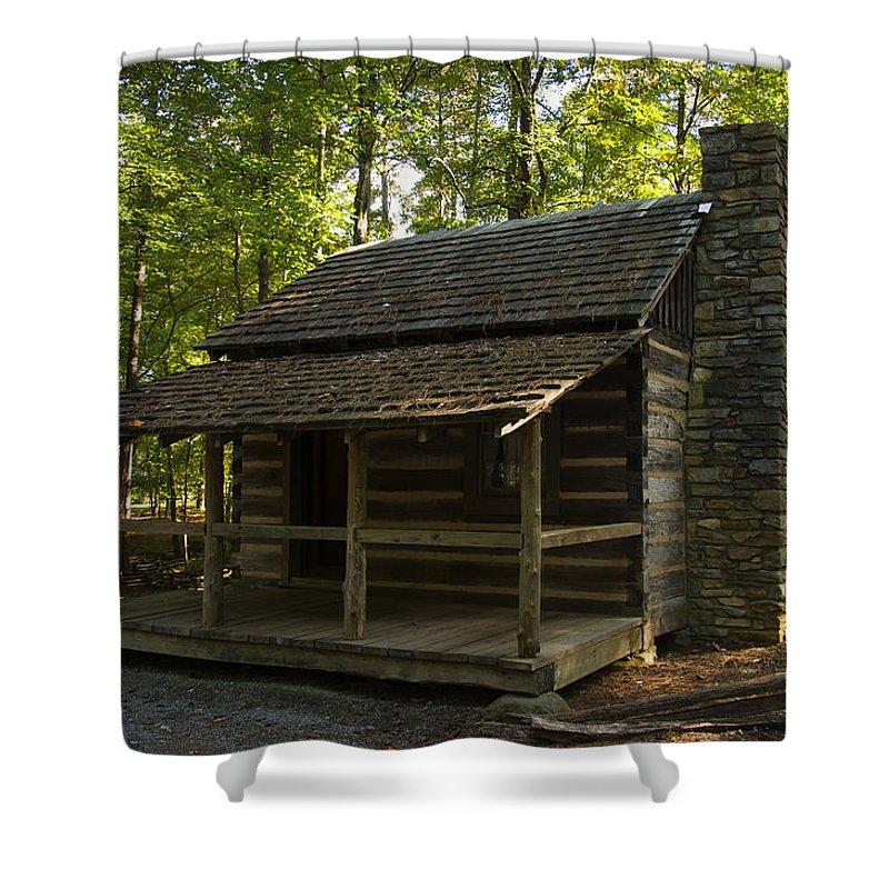 Log Cabin Shower Curtain Featuring The Digital Art South Carolina By Chris Flees