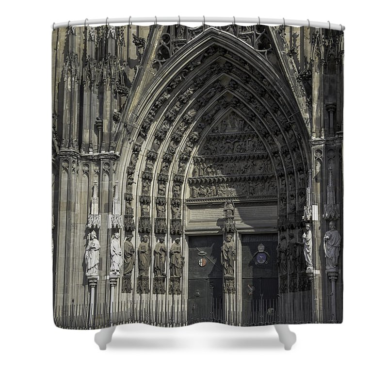 2014 Shower Curtain featuring the photograph South Entrance Cologne Cathedral by Teresa Mucha