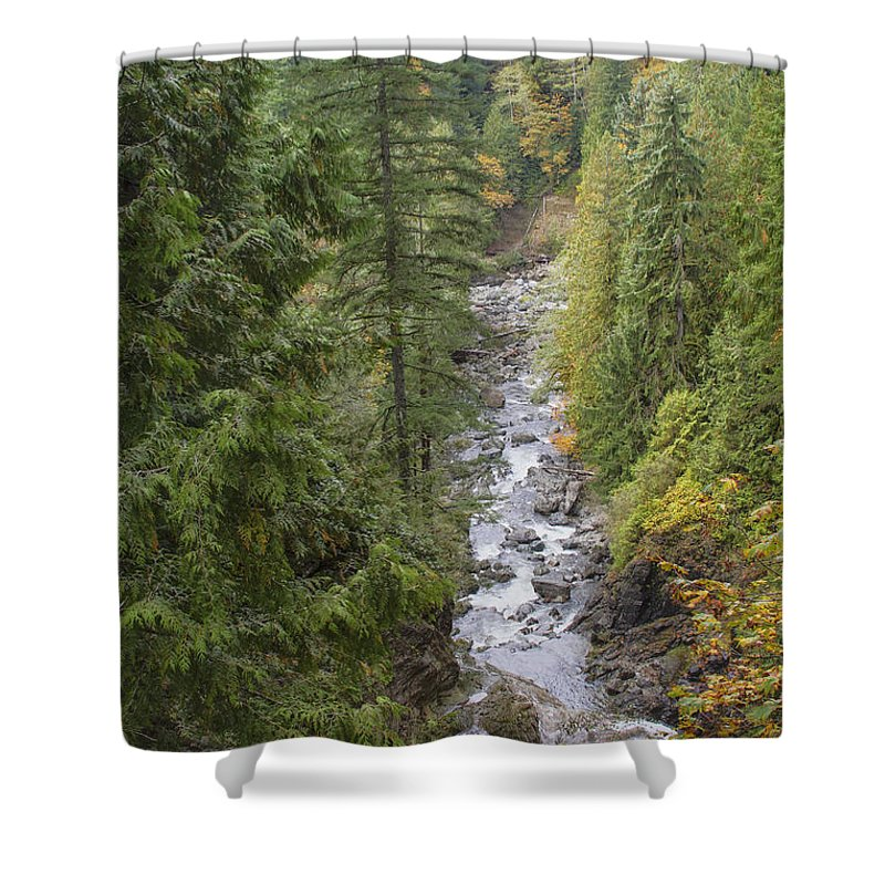 Landscape Shower Curtain featuring the photograph south fork Snoqualmie river by Darleen Stry