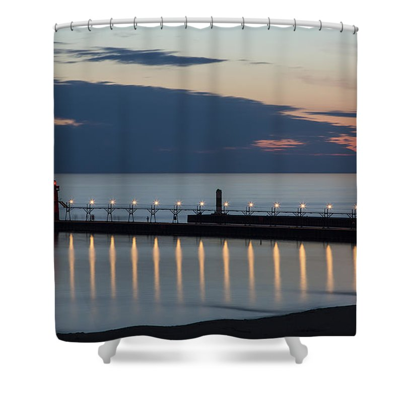 3scape Photos Shower Curtain featuring the photograph South Haven Michigan Lighthouse by Adam Romanowicz