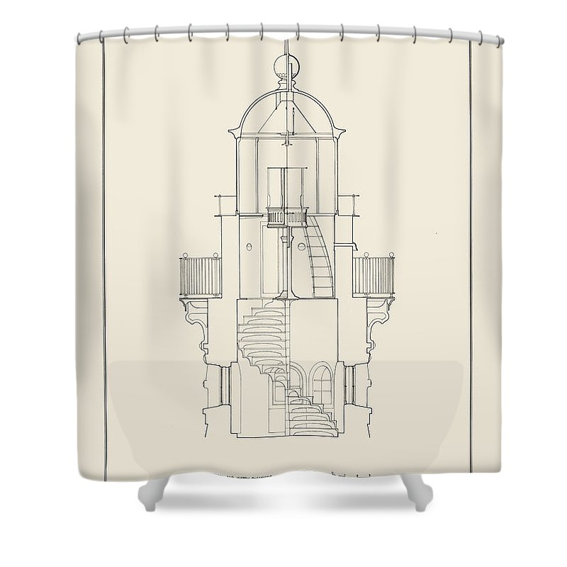 Uscg Shower Curtain featuring the drawing South Manitou Island Lighthouse by Jerry McElroy