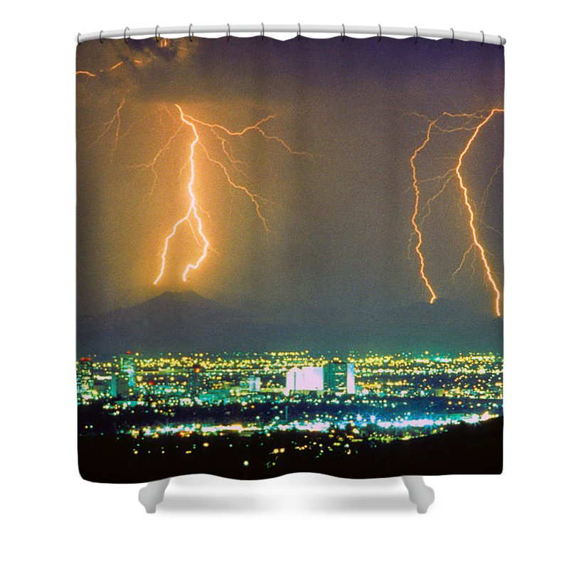 Lightning Shower Curtain featuring the photograph South Mountain Lightning Strike Phoenix Az by James BO Insogna