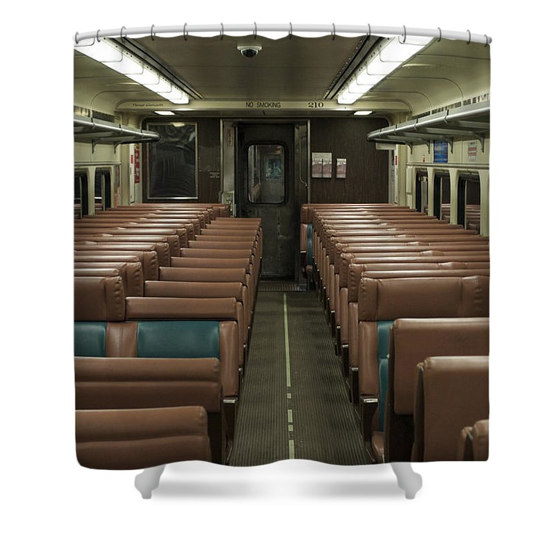 South Shore Line Shower Curtain Featuring The Photograph Train Trailer 210 Interior By Thomas