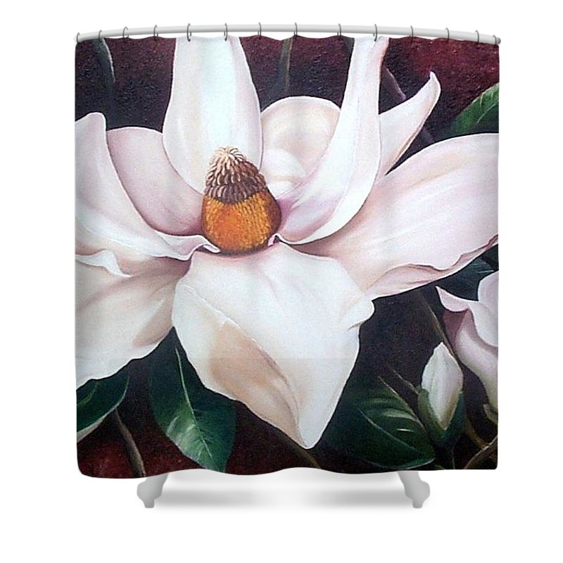 Magnolia Southern Bloom Floral Botanical White Shower Curtain featuring the painting Southern Beauty by Karin Dawn Kelshall- Best