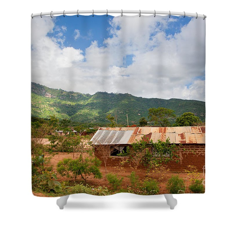 Poverty Shower Curtain featuring the photograph Southern Kenya Poverty Landscape by Michal Bednarek