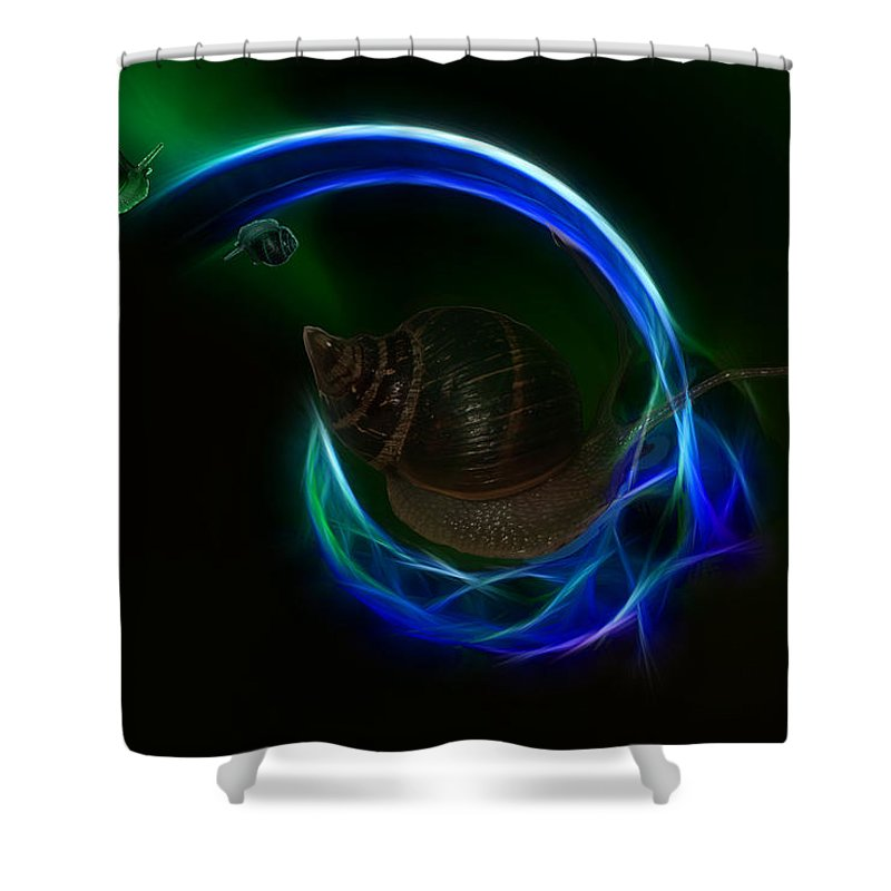 Southern Shower Curtain featuring the digital art Southern Northern Lights by Angela Stanton