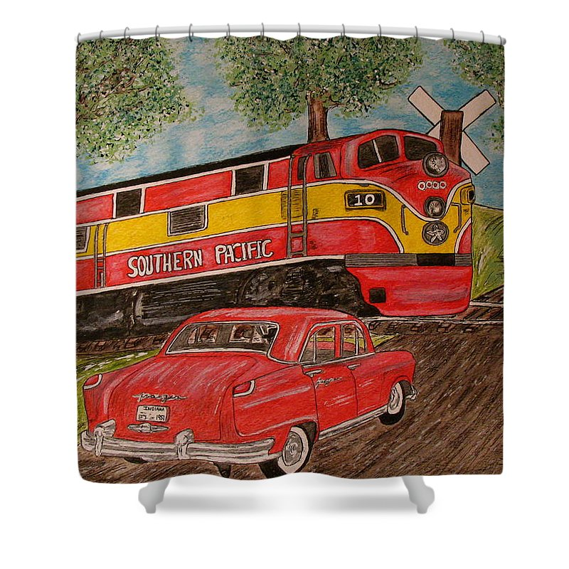 Southern Pacific Railroad Shower Curtain featuring the painting Southern Pacific Train 1951 Kaiser Frazer Car Rr Crossing by Kathy Marrs Chandler