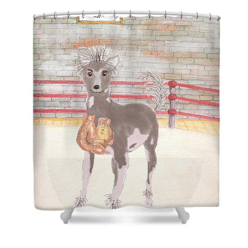 Animal Shower Curtain featuring the painting Southpaw by Stephanie Grant