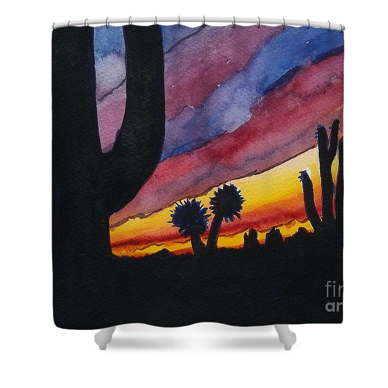Cactus Shower Curtain featuring the painting Southwest Art by Don Hand
