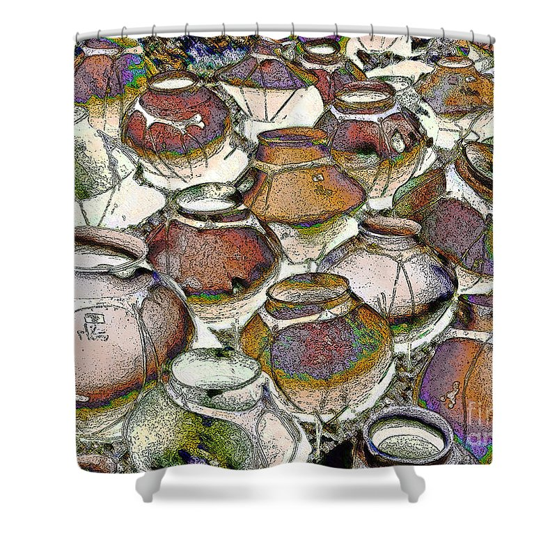 Impressionism Shower Curtain featuring the photograph Southwestern Pots by Linda Parker
