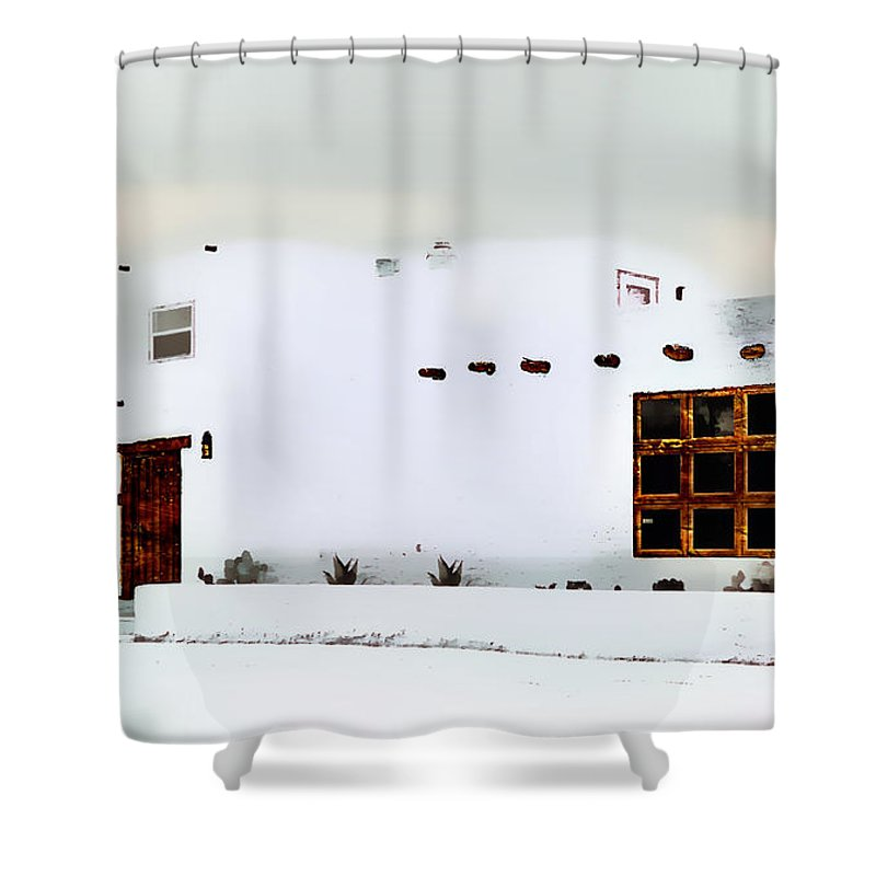 Southwestern Watercolor Art Shower Curtain featuring the painting Southwestern Pueblo by Barbara Chichester