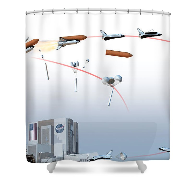 science shower curtain featuring the photograph space shuttle flight path,  diagram by dorling kindersley