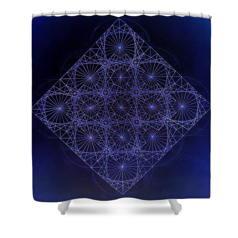 Fractal Shower Curtain featuring the drawing Space Time Sine Cosine And Tangent Waves by Jason Padgett