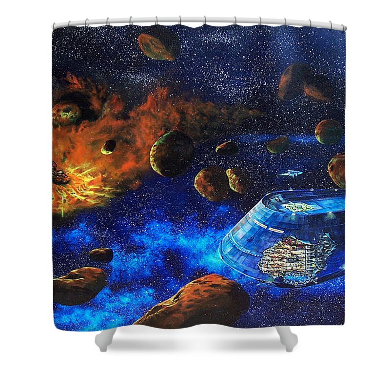 Future Shower Curtain featuring the painting Spaceship Titanic by Murphy Elliott
