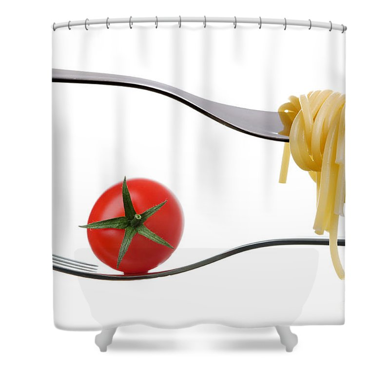 Mediterranean Diet Shower Curtain featuring the photograph Spaghetti And Tomato On Fork White Background by Lee Avison