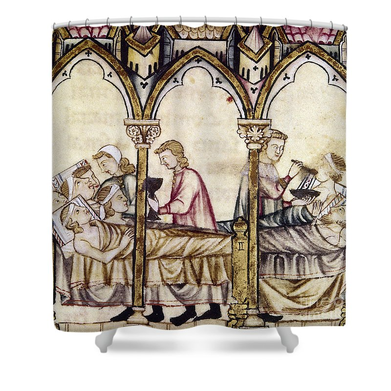 13th Century Shower Curtain Featuring The Photograph Spain Medieval Hospital By Granger