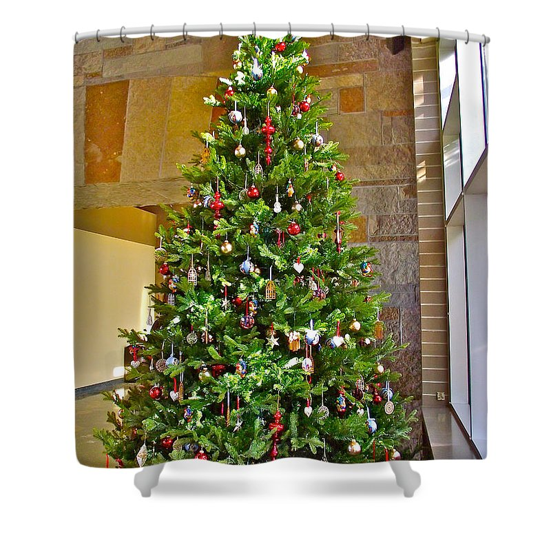 spanish christmas tree decorations in fredrik meijer gardens and sculpture park in grand rapids shower curtain