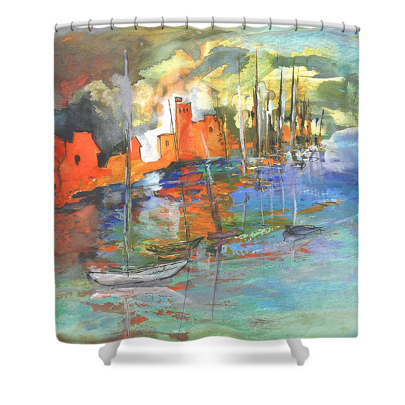 Impressionism Shower Curtain featuring the painting Spanish Harbour 02 by Miki De Goodaboom