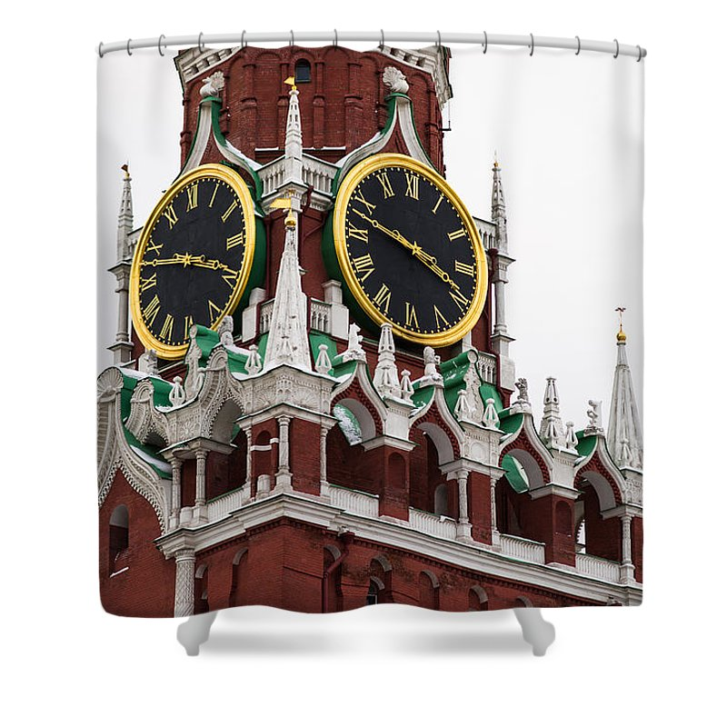 Architecture Shower Curtain featuring the photograph Spassky - Savior's - Tower Of Moscow Kremlin - Featured 2 by Alexander Senin