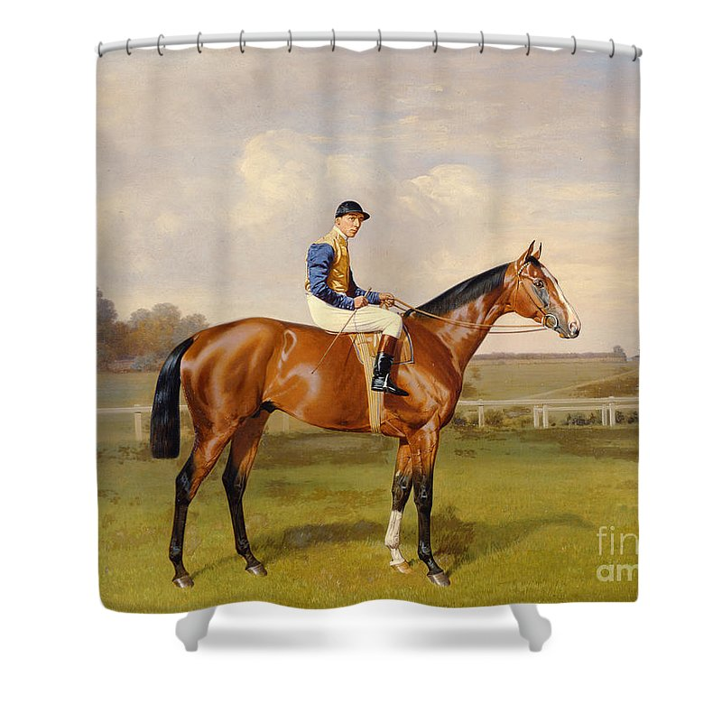 Horse Shower Curtain featuring the painting Spearmint Winner Of The 1906 Derby by Emil Adam