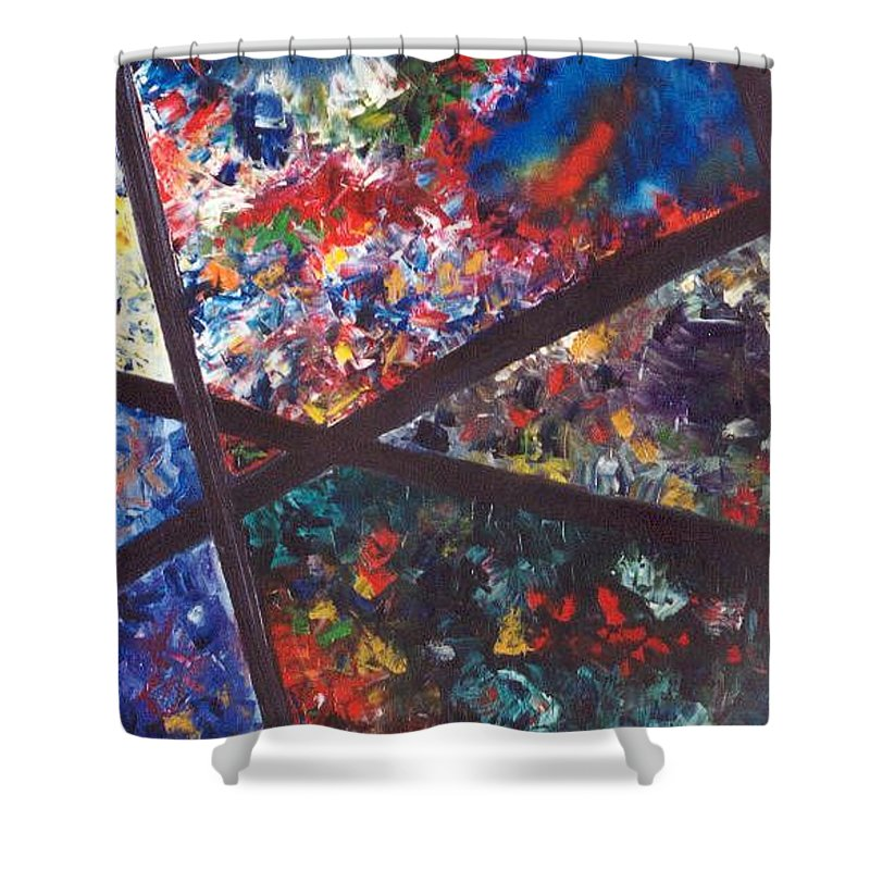Abstract Shower Curtain featuring the painting Spectral Chaos by Micah Guenther