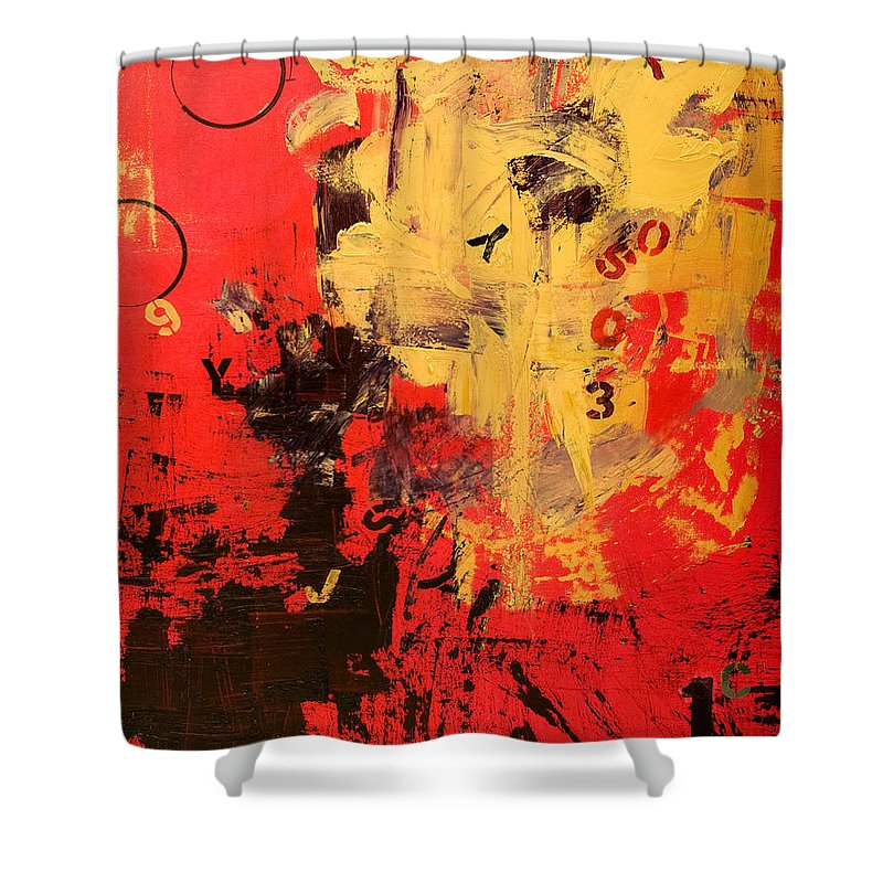 Abstract Shower Curtain featuring the painting Speechless by Laura Warburton