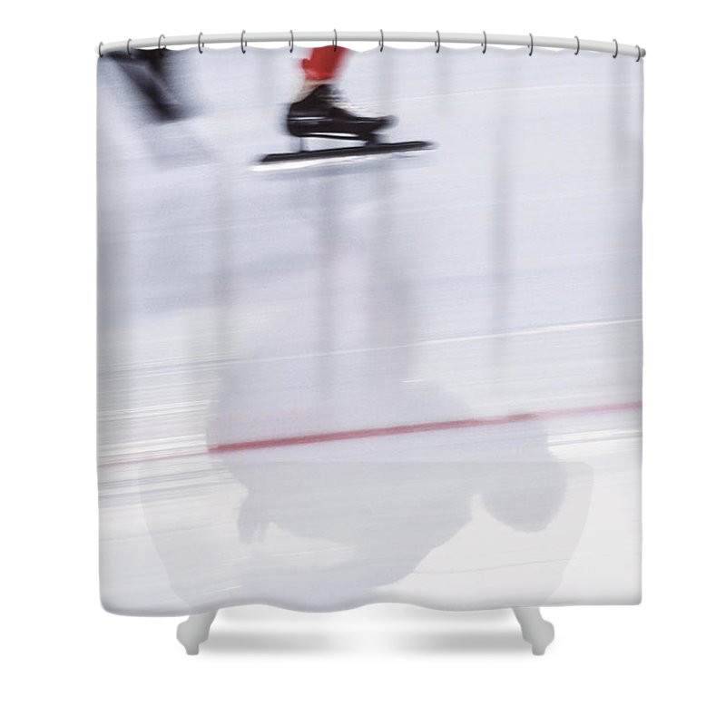 People Shower Curtain featuring the photograph Speed Skating, Action Blur by David Madison