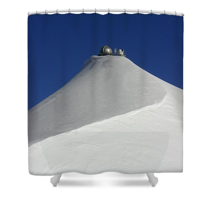 Sphynx Mountains Snow Blue White Alpine Shower Curtain featuring the photograph Sphinx Observatory by Paul Fearn