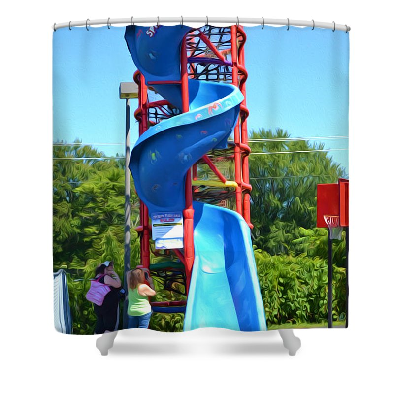 Spider Mountain Shower Curtain featuring the painting Spider Mountain by Jeelan Clark